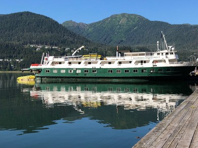 The Wilderness Adventurer awaits guests docked in Juneau for the 2020 Alaska season.