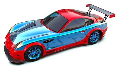 A cutaway showing the first layer of the magnesium-optimization strategy for a Panoz race vehicle, pioneered by Galaxy Motion. The blue elements are precisely-engineered magnesium alloys that meet or exceed performance characteristics and safety specifications of the original aluminum or steel.