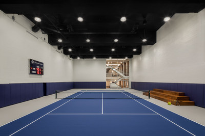 Waterline Square is the first residential development in NYC to feature an indoor regulation-size tennis court.
