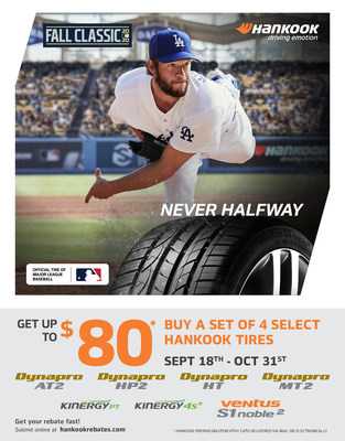 Hankook Tire, the Official Tire of Major League Baseball, announces that its 2020 Fall Classic Rebate will run from September 18 – October 31 and will offer savings of up to $80 via a prepaid Mastercard with the purchase of four tires from select lines, including the brand new all-weather Kinergy 4S2.