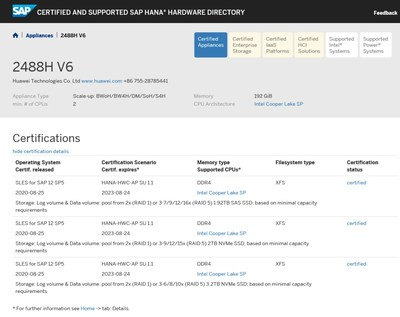 Huawei FusionServer Pro 2488H V6 SAP HANA appliance certification results