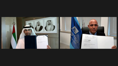 His Excellency Dr. Sultan Ahmed Al Jaber, UAE Minister of Industry and Advanced Technology and Chairman of the MBZUAI Board of Trustees, and Weizmann Institute President Professor Alon Chen, signed the Memorandum of Understanding (MoU). (PRNewsfoto/MBZUAI)