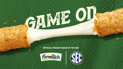 """Farm Rich and the SEC are teaming up for an exclusive three-year sponsorship featuring Farm Rich as the """"Official Frozen Snack of the SEC"""" across all SEC sports. This includes football, basketball, baseball, soccer, tennis, gymnastics and more, kicking off with the 2020 SEC football season."""