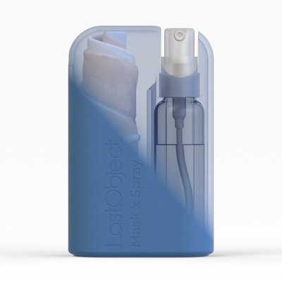 The kit includes a face mask and hand sanitizer spray which come in a compact silicon carry case.