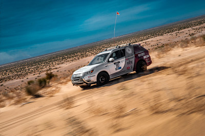 Mitsubishi Motors North America and Team Record the Journey celebrate a podium finish at the 2020 Rebelle Rally.