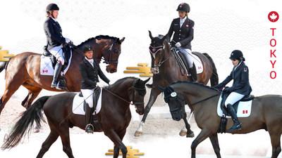 Lauren Barwick & Sandrino, Winona Hartvikson & Onyx, Roberta Sheffield & Fairuza, and Jody Schloss & Lieutenant Lobin will be competing for Canada in Para equestrian at the Tokyo 2020 Paralympic Games. (CNW Group/Canadian Paralympic Committee (Sponsorships))