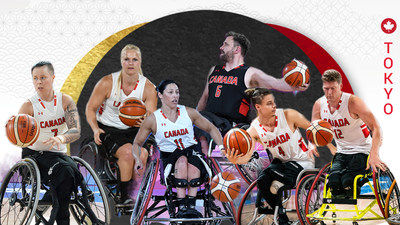 Cindy Ouellet, Kady Dandeneau, Tara Llanes, Bo Hedges, Nik Goncin, and Patrick Anderson are among the 23 wheelchair basketball players set to play for Canada at the Tokyo 2020 Paralympic Games. PHOTO: Canadian Paralympic Committee (CNW Group/Canadian Paralympic Committee (Sponsorships))