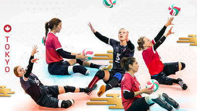 The athletes set to represent Canada in women's sitting volleyball at the Tokyo 2020 Paralympic Games this summer have been selected, including (L-R): Payden Vair, Jennifer Oakes, Danielle Ellis, Felicia Voss-Shafiq, and Jolan Wong. (CNW Group/Canadian Paralympic Committee (Sponsorships))