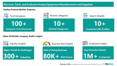 Snapshot of BizVibe's hockey equipment supplier profiles and categories.