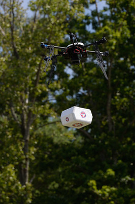 """The """"Kitty Hawk moment""""; Flirtey successfully conducting the first Federal Aviation Administration-approved drone delivery in American aviation history on July 17, 2015."""