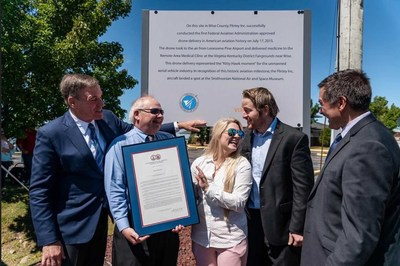 U.S. Senator, Mark Warner; Clerk of Court of Wise County and Norton City, Jack Kennedy; Flirtey Executive Assistant, Andi Sweeny; Flirtey Founder and CEO, Matthew Sweeny; Delegate, Terry Kilgore; in front of the Virginia Department of Aviation historical marker.