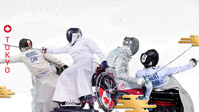 Canada will be represented by four wheelchair fencers at the Tokyo 2020 Paralympic Games (L-R): Ryan Rousell, Ruth Sylvie Morel, Pierre Mainville, and Matthieu Hébert. (CNW Group/Canadian Paralympic Committee (Sponsorships))
