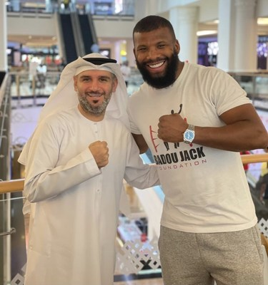 Saeed Al Janahi, Director of Operations at Dubai Film & TV Commission meets with Badou Jack in Dubai to officially grant him the UAE Golden Visa