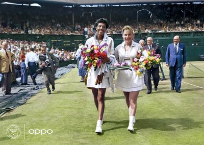 Althea Gibson leaving Centre Court after becoming the first African American woman to win Wimbledon in 1957