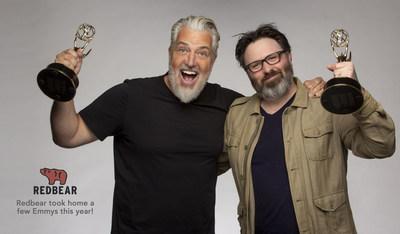 PJ Haarsma & Drew Lewis celebrate their Emmy win at Redbear Films