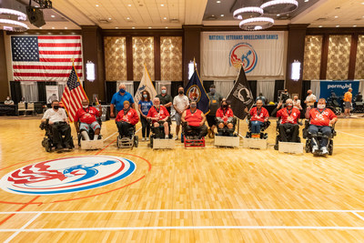 Veterans pose for a team photo after winning the gold medal in power soccer in New York City on Aug. 8, 2021, at the National Veterans Wheelchair Games - the largest annual rehabilitation wheelchair sports event solely designed for military veterans. Event is co-presented by Paralyzed Veterans of American and the Department of Veterans Affairs. Photo courtesy of Paralyzed Veterans of America/Keith Mellnick.